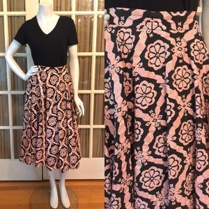 Vintage Pink & Blk  Paper and Cotton Circle Skirt